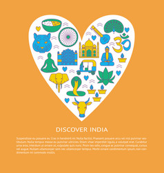 discover india concept banner in colored line vector image