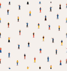 Diverse people group seamless pattern background vector