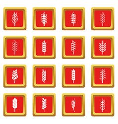 Ear corn icons set red vector