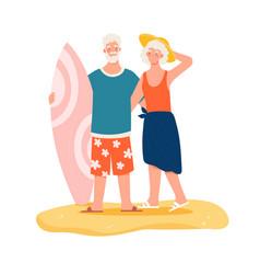 Elderly couple with surfboard on beach vector