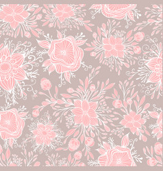 fantasy blooming flowers seamless pattern vector image