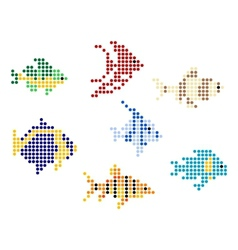 Fish with mosaic elements vector image