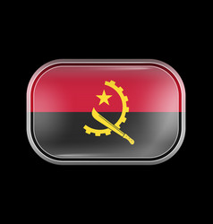 Flag angola matted icon rectangular vector