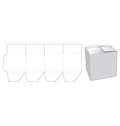 Folding gift box die cut template vector