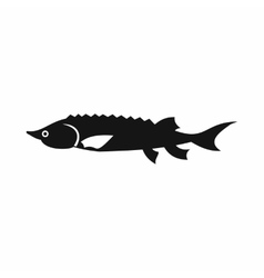 Fresh sturgeon fish icon simple style vector