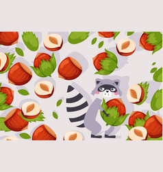 funny raccoon cute cartoon vector image