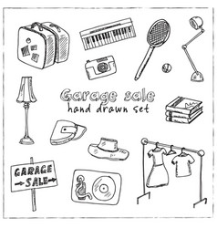 garage hand drawn doodle set isolated elements on vector image