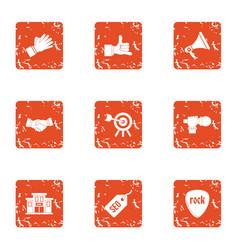 gig icons set grunge style vector image