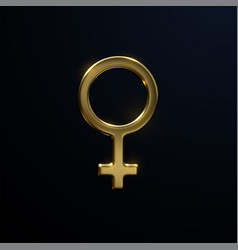 golden venus sign isolated on black background vector image