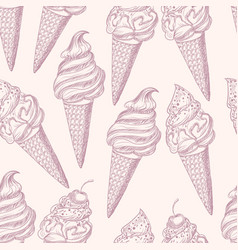 graphic seamless pattern with ice cream vector image
