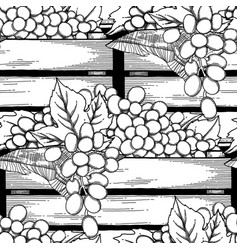 graphic wooden boxes grapes decorated vector image