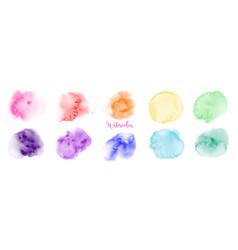 Hand drawn rainbow watercolor paint brush set vector