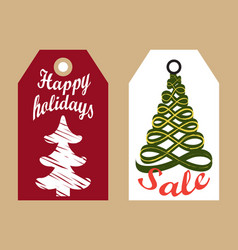 Happy holidays sale badges new year sketch trees vector