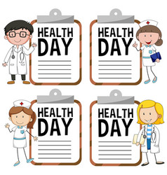 Health day logo with doctor and nurse vector