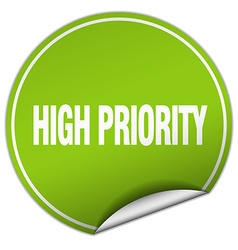 High priority round green sticker isolated on vector