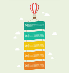 hot air balloon with banner infographic vector image