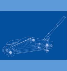 Hydraulic floor jack outline vector