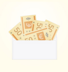 Isolated opened white envelope with cash vector