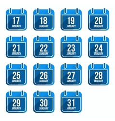 January flat calendar icons with long shadow vector image vector image