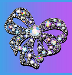 jewel brooch bow with precious stones vector image