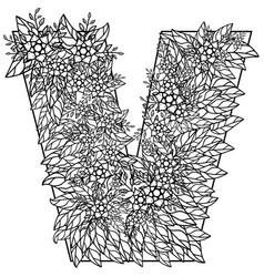 Letter v dudling drawing mandala vector