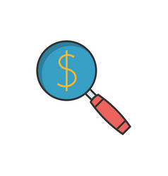 Magnifying glass flat line icon vector