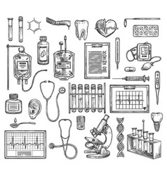 Medical surgery equipment sketch items vector
