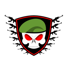 military emblem skull in beret wings and weapons vector image