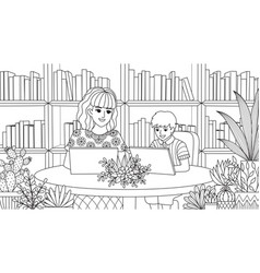 Mom and son in library vector