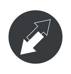 Monochrome round opposite arrows icon vector