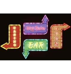 Open big sale casino bar retro neon signs vector