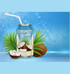 organic coconut water poster banner vector image