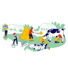people doing farming job feeding poultry and vector image