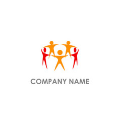 people group holding hand logo vector image