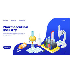 pharmaceutical industry landing page isometric vector image