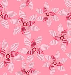 Pink flower with gemstone seamless pattern vector