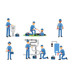Plumbers repairing the pipes and fittings of water vector