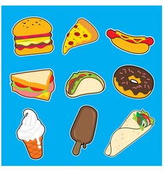 Popular food icon design collection set vector