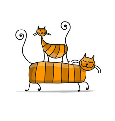 red cats sketch for your design vector image