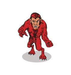 Red Werewolf Monster vector