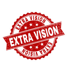 scratched textured extra vision stamp seal vector image