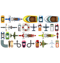 Set aerial transportation vehicle vector