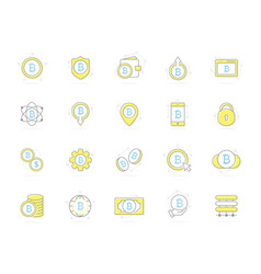 set colored bitcoin icons investments vector image