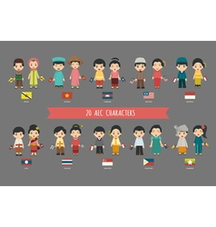 Set of asian men and women in traditional costume vector