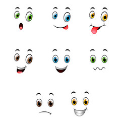 set of different cute emoticons vector image