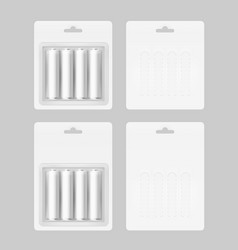 Set of four white batteries in blister packed vector
