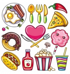 Set of readytoeat food icons vector