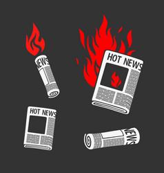 set of symbols newspaper hot news vector image