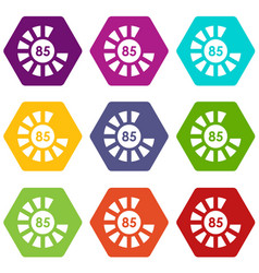 Sign 85 load icon set color hexahedron vector