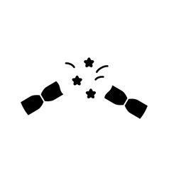 Silhouette pulled christmas cracker icon of vector